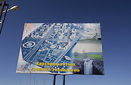 Mongolia. bilboard with the new capital painting in market in  Hahorin -