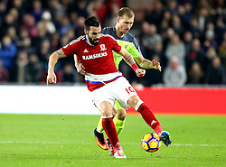 Alvaro Negredo of Middlesbrough controls the ball under pressure from Ragnar Klavan of Liverpool - Mandatory by-line: Robbie Stephenson/JMP - 14/12/2016 - FOOTBALL - Riverside Stadium - Middlesbrough, England - Middlesbrough v Liverpool - Premier League