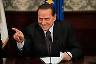 ITALY, NAPLES : Italian prime minister Silvio Berlusconi during a press conference in Naples on November 26, 2010. The italian prime minister made the point on Naples' latest garbage emergency and proposed a plan in order to resolve the emergency..AFP PHOTO / ROBERTO SALOMONE