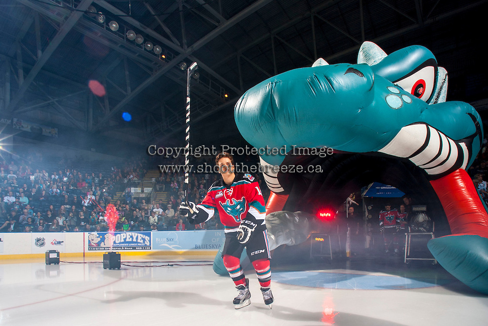 KELOWNA, CANADA - SEPTEMBER 21:  Kris Schmidli #16 of the Kelowna Rockets enters the ice during the regular season home opener against the Kamloops Blazers at the Kelowna Rockets on September 21, 2013 at Prospera Place in Kelowna, British Columbia, Canada (Photo by Marissa Baecker/Shoot the Breeze) *** Local Caption ***