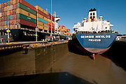 Cargo ships at Miraflores Locks. Panama Canal, Panama City, Panama, Central America.