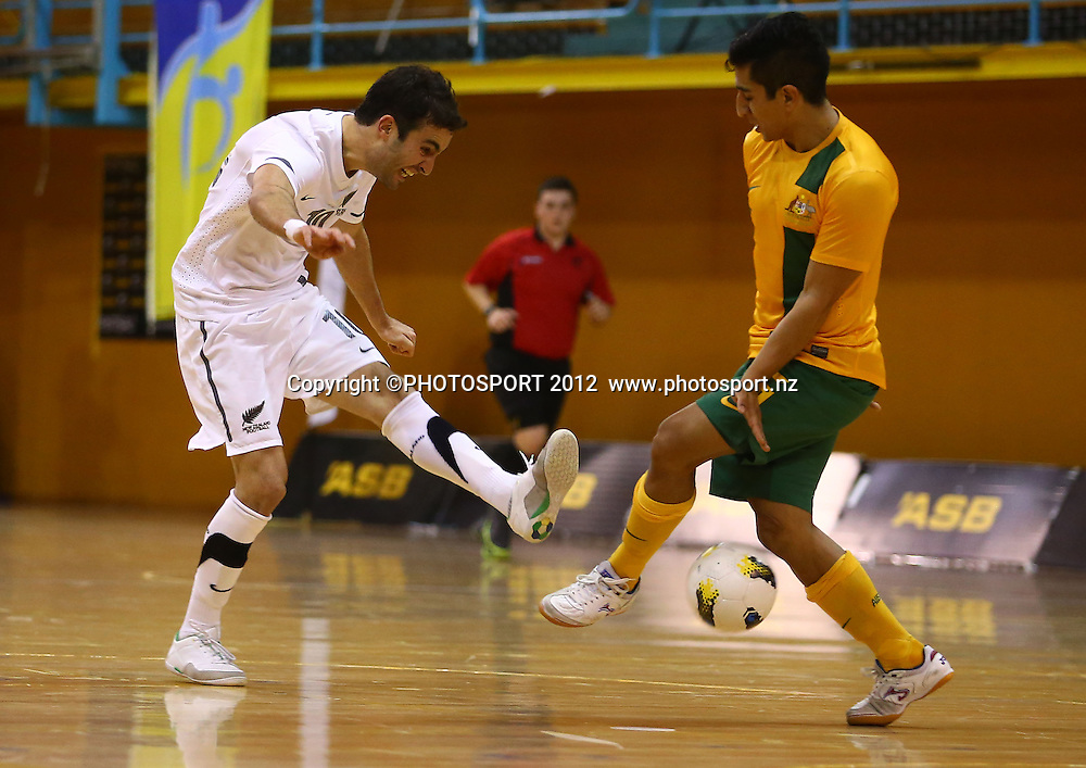 Lucas Da Silva of New Zealand shoots. ASB Trans Tasman Cup, Futsal Whites v Futsal Roos, ASB Stadium, Kohimarama, FSaturday 22 September 2012. Photo: Simon Watts/photosport.co.nz