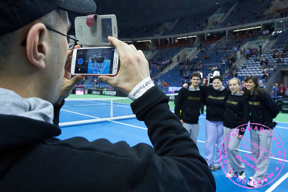 Umpires and linesmen referee during Second Day of the Fed Cup / World Group 1st round tennis match between Poland and Russia at Tauron Krakow Arena on February 8, 2015 in Cracow, Poland.<br /> <br /> Poland, Cracow, February 8, 2015<br /> <br /> Picture also available in RAW (NEF) or TIFF format on special request.<br /> <br /> For editorial use only. Any commercial or promotional use requires permission.<br /> <br /> Adam Nurkiewicz declares that he has no rights to the image of people at the photographs of his authorship.<br /> <br /> Mandatory credit:<br /> Photo by &copy; Adam Nurkiewicz / Mediasport