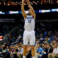 Mar 18, 2013; New Orleans, LA, USA; New Orleans Hornets power forward Ryan Anderson (33) shoots against the Golden State Warriors during the second quarter a game at the New Orleans Arena Mandatory Credit: Derick E. Hingle-USA TODAY Sports