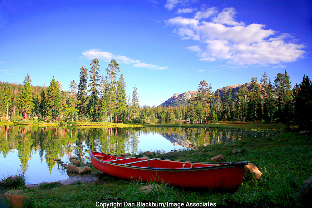 Canoe on Mirror Lake Early Morning Uinta Mountains Utah