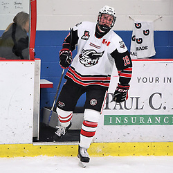 GEORGETOWN, ON - JANUARY 5: Mitchell Hewitson #18 of the Georgetown Raiders in the second period on January 5, 2019 at Gordon Alcott Memorial Arena in Georgetown, Ontario, Canada.<br /> (Photo by Ken Lamb / OJHL Images)