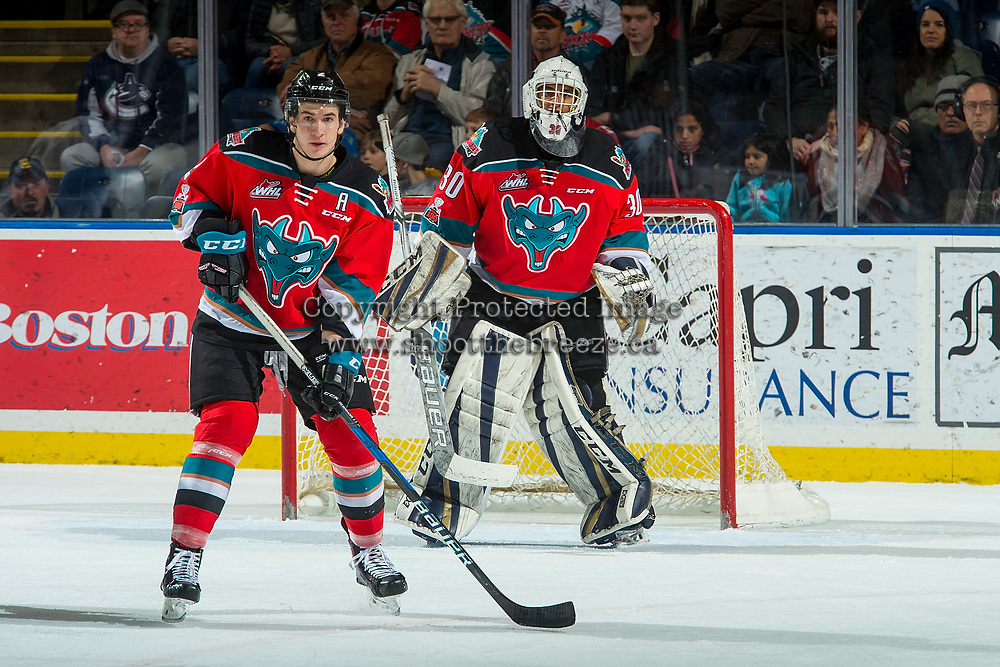 KELOWNA, CANADA - DECEMBER 2: James Hilsendager #2 and Roman Basran #30 of the Kelowna Rockets look for the pass against the Kootenay Ice on December 2, 2017 at Prospera Place in Kelowna, British Columbia, Canada.  (Photo by Marissa Baecker/Shoot the Breeze)  *** Local Caption ***