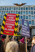 Outside the US Embassy - Women's March on London - a grassroots movement of women has organised marches around the world to assert the 'positive values that the politics of fear denies' on the first day of Donald Trump's Presidency. Their supporters include: Amnesty International, Greenpeace, ActionAid UK, Oxfam GB, The Green Party, Pride London, Unite the Union, NUS, 50:50 Parliament, Stop The War Coalition, CND.