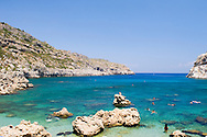 Ladiko or Anthony Quinn Bay, a rocky cove with a small beach, Rhodes, Dodecanese Islands, Greece