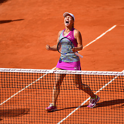 Yulia Putintseva of Kazahkstan celebrates winning during Day 8 of the French Open 2018 on June 3, 2018 in Paris, France. (Photo by Dave Winter/Icon Sport)