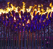 Thomas Heatherwick designed Olympic cauldron burning for the last few minutes