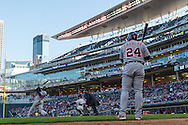 Miguel Cabrera #24 of the Detroit Tigers waits on-deck while Torii Hunter #48 bats during a game against the Minnesota Twins on April 3, 2013 at Target Field in Minneapolis, Minnesota.  The Twins defeated the Tigers 3 to 2.  Photo: Ben Krause