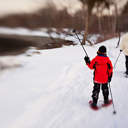 Snowshoeing at Odiorne Point State Park in Rye, New Hampshire.