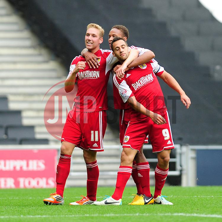 GOAL CELEBRATIONS. Bristol City captain, Sam Baldock celebrates his goal.  - Photo mandatory by-line: Dougie Allward/JMP - Tel: Mobile: 07966 386802 24/08/2013 - SPORT - FOOTBALL - Stadium MK - Milton Keynes -  Milton Keynes Dons V Bristol City - Sky Bet League One