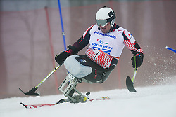 Dino SOKOLOVIC competing in the Alpine Skiing Super Combined Slalom at the 2014 Sochi Winter Paralympic Games, Russia