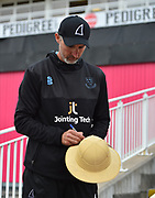 Sussex head coach Jason Gillespie signing a hat for a fan before the final of the Vitality T20 Finals Day 2018 match between Worcestershire Rapids and Sussex Sharks at Edgbaston, Birmingham, United Kingdom on 15 September 2018.