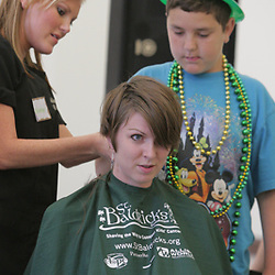 18 March 2009:  Event organizer and graduate student at Tulane School of Medicine, Jen Flament prepares to get her head shaved during the second annual St. Baldrick's children's cancer charity shave-a-thon fund raiser held at Tulane Medical Center in New Orleans, Louisiana.