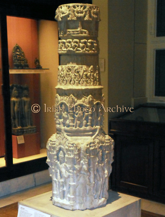 Marble pillar, Western India, 11th century.  In ancient India, white marble was available only in Western India where it was used in the later 11th century to construct the famous Vimala temple at Mt Abu, Rajastan.  The standing females at the bottom are probably Jain Goddesses.