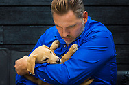 """When David met David: The star and the 10,000th guide dog puppy.<br /> <br /> TV star David Walliams met his very special namesake this week as the charity Guide Dogs celebrated a landmark puppy.<br /> <br /> Yellow Labrador David is the 10,000th pup born since the opening of the charity's state-of-the-art National Breeding Centre and he has been named after the popular comedian, actor, author, and presenter.<br /> <br /> The ten-week-old pup paid the Britain's Got Talent judge a visit at his north London home and the pair got on famously. David said: """"It's a huge thrill to have a guide dog puppy named David after me, I'm just sorry I don't have a more memorable name!<br /> <br /> Puppy David will now go on to complete around 20 months of specialised training before being partnered with someone who has sight loss.<br /> <br /> For more information contact Annabel Williams on 0118 983 0183 or email annabel.williams@guidedogs.org.uk<br /> <br /> Picture date Thursday 30th August, 2018.<br /> Picture by Christopher Ison for Guide Dogs.<br /> <br /> IMAGE FREE FOR EDITORIAL USE."""