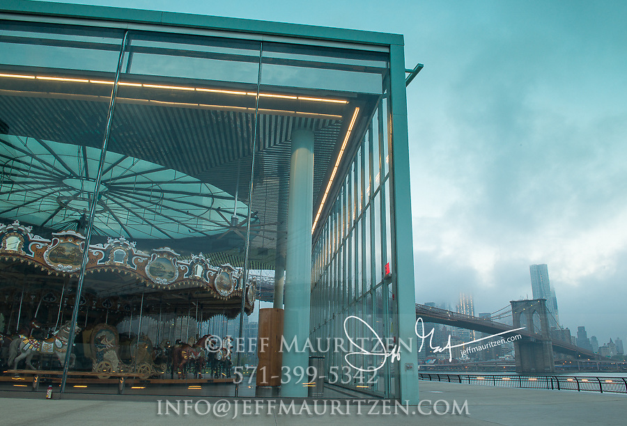 Jane's Carousel and the Brooklyn Bridge in NYC.