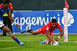 Josiah Morra of Canada scores a try<br /> <br /> Photographer Craig Thomas/Replay Images<br /> <br /> World Rugby HSBC World Sevens Series - Day 1 - Thursday 5rd December 2019 - Sevens Stadium - Dubai<br /> <br /> World Copyright © Replay Images . All rights reserved. info@replayimages.co.uk - http://replayimages.co.uk
