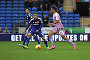 Reading striker Nick Blackman and Cardiff City midfielder Anthony Pilkington during the Sky Bet Championship match between Cardiff City and Reading at the Cardiff City Stadium, Cardiff, Wales on 7 November 2015. Photo by Jemma Phillips.