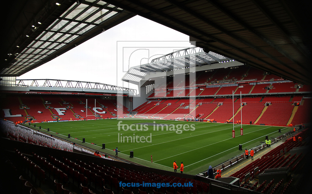 General Stadium views of Anfield Stadium ahead of Australia vs New Zealand during the final of the 2016 Ladbrokes Four Nations at Anfield, Liverpool<br /> Picture by Stephen Gaunt/Focus Images Ltd +447904 833202<br /> 20/11/2016