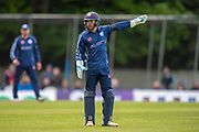 Scotland wicketkeeper Matthew Cross in the field during the One Day International match between Scotland and Afghanistan at The Grange Cricket Club, Edinburgh, Scotland on 10 May 2019.