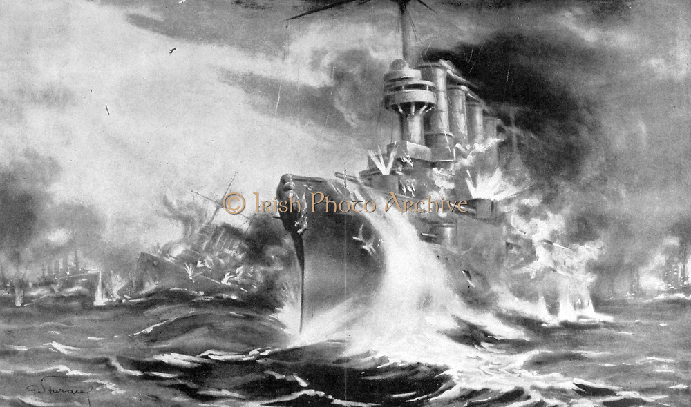 World War I 1914-1918. Battle of the Falkland Islands, South Atlantic.  Decisive British naval victory over German Navy, 8 December 1914. One of the two German armoured cruisers Scharnhorst and Gneisenau in the battle.