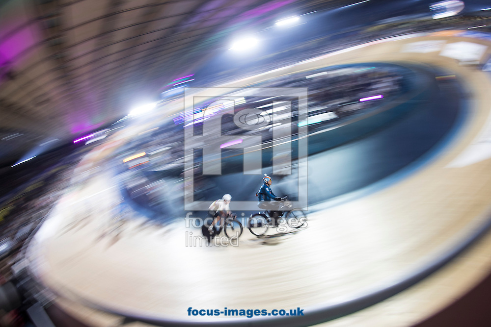 Mark Cavendish sits in the wheels of his Derny Rider on day six of the Six Day cycling series at Lee Valley VeloPark, London, UK<br /> Picture by Ryan Dinham/Focus Images Ltd +44 7900 436859<br /> 30/10/2016
