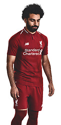 LIVERPOOL, ENGLAND - Thursday, April 19, 2018: A hand-out image from Liverpool Football Club of their new 2018-19 season kit designed by New Balance with a tipped two-button polo collar featuring top scorer Mohamed Salah. (Pic by Pool/Liverpool Football Club via Propaganda)