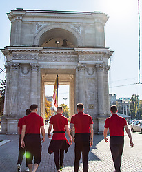 CHISINAU, MOLDOVA - Thursday, October 10, 2019: (L-R) Wales' Mark Harris, Ryan Stirk, Cameron Coxe, and Nathan Broadhead during a team walk in Chisinau ahead of the UEFA Under-21 Championship Italy 2019 Qualifying Group 9 match between Moldova and Wales. (Pic by Kunjan Malde/Propaganda)