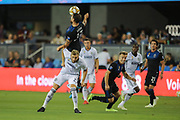 San Jose Earthquakes defender Guram Kashia (37) heads the ball over Philadelphia Union forward Kacper Przybylko (23) during an MLS soccer match won by Philadelphia 2-1, Wednesday, Sept. 25, 2019, in San Jose, Calif. (Peter Klein/Image of Sport)