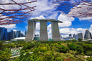 The Marina Bay Sands Hotel from the OCBC Skyway at Gardens by the Bay, Singapore, Republic of Singapore