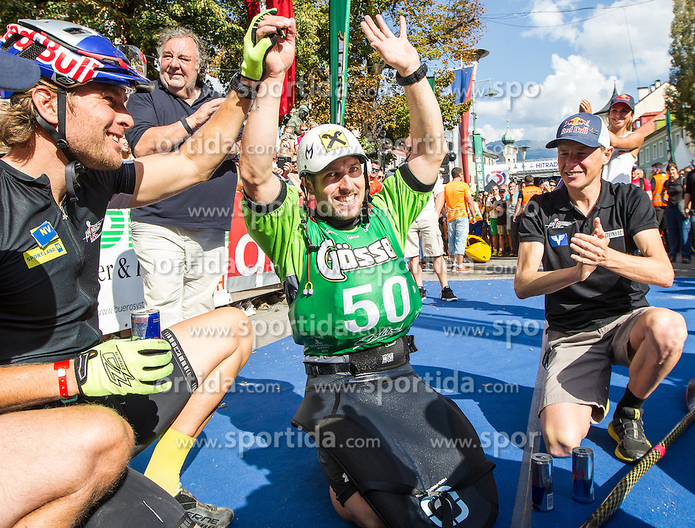 10.09.2016, Lienz, AUT, Red Bull Dolomitenmann 2016, Ziel, im Bild v.l. Benjamin Karl (AUT), Marcel Hirscher (AUT) und Andreas Goldberger (AUT) alle Team Wings for Life // during the Finish of the 2016 Red Bull Dolomitenmann at the Lienz, Austria on 2016/09/10. EXPA Pictures © 2016, PhotoCredit: EXPA/ Johann Groder