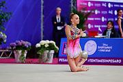 Telegina Yuliana during qualifying at ball in Pesaro World Cup 13 April, 2018. Yuliana is an Israeli rhythmic gymnast born in 2002.