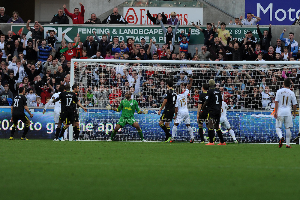 Swansea city's Michu (2nd from left) scores his sides 2nd goal. Barclays Premier league, Swansea city v Wigan Athletic at the Liberty Stadium in Swansea, South Wales on Saturday 20th October 2012. pic by Andrew Orchard, Andrew Orchard sports photography,