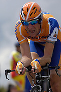 France - Tuesday, Jul 08 2008:  Rabobank's Denis Menchov (Rus) powers out of a corner towards La Romagne during Stage 4 of the 2008 Tour de France cycle race.  Menchov completed the 29.5km time trial out and back to Cholet in a time of 36 mins 18 seconds which earned him sixth place, 34 seconds behind Gerolsteiner's Stefan Schumacher.   (Photo by Peter Horrell / http://www.peterhorrell.com)