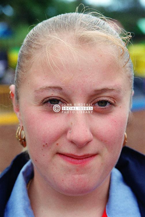 Portrait of teenage girl wearing nose stud,