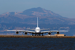 Airbus A380-861 (F-HPJG) operated by Air France taxiing, San Francisco International Airport (KSFO), San Francisco, California, United States of America