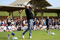 European captain Thomas Bjorn hits a few practice balls during a media event ahead of the 2018 Ryder Cup at Le Golf National, Paris.