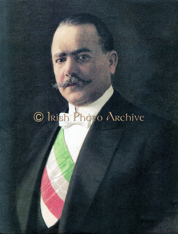 Salvaro Obregon Salido (1880-1928) Mexican general and politician, President of Mexico 1920-1924. Obregon won the 1928 Presidential election but was shot dead on 17 July 1928 by Jose de Leon Toral, a Roman Catholic who opposed to the Mexican government's religious policies.