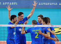 Mitja Gasparini, Dejan Vincic, Alen Pajenk, Jan Klobucar, Klemen Cebulj, Tine Urnaut of Slovenia during volleyball match between National teams of Netherlands and Slovenia in Playoff of 2015 CEV Volleyball European Championship - Men, on October 13, 2015 in Arena Armeec, Sofia, Bulgaria. Photo by Ronald Hoogendoorn / Sportida