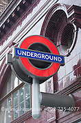 The Underground sign outside Russel Square in London, England.
