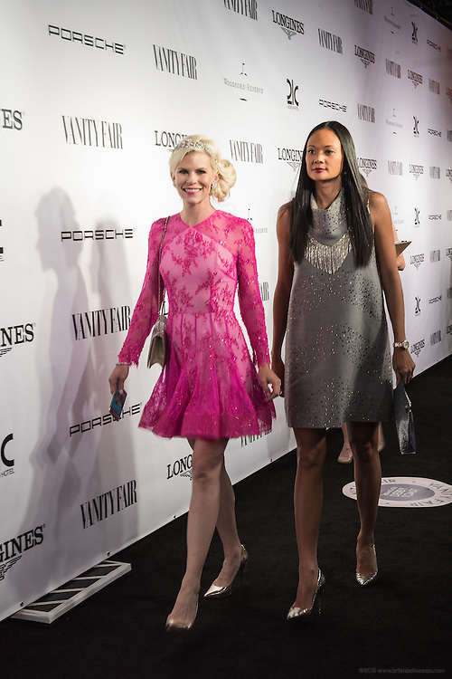 Hotel guests Suzy Buckley Woodward, left, and Criselda Breene are photographed on the black carpet at the Vanity Fair Derby party at 21c Museum Hotel. May 6, 2016