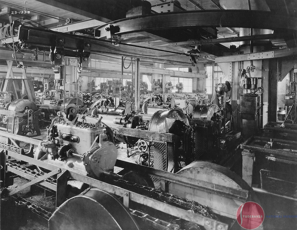 The Studebaker Corporation's motor assembly room, 1923.