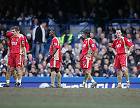 Photo: Lee Earle.<br /> Chelsea v Portsmouth. The Barclays Premiership. 25/02/2006. Pompey players look dejected after losing to Chelsea.