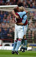 2003-05-03<br />Barclaycard Premiership<br />Aston Villa v Sunderland<br />ASTON VILLA'S MATCH WINNER MARCUS ALLBACK  CELEBRATES HIS GOAL WITH DION DUBLIN DURING TODAYS PREMIERSHIP GAME.<br />PIC BY DANIEL HAMBURY/SPORTSBEAT IMAGES