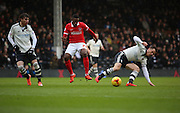 Fulham midfielder and captain, Scott Parker (08) breaking up play during the Sky Bet Championship match between Fulham and Charlton Athletic at Craven Cottage, London, England on 20 February 2016. Photo by Matthew Redman.