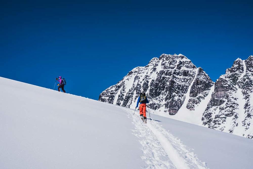 Emily Bodner and Joe Morabito below Polemic Peak, Howson Range, British Columbia.